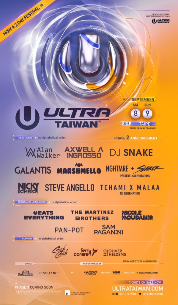 Phase Two of Ultra Taiwan's Lineup!