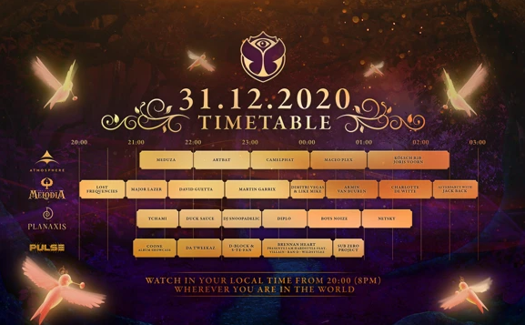 The full timetable for Tomorrowland's NYE is out!