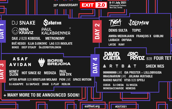 20 new names for the 20 years of EXIT Festival !