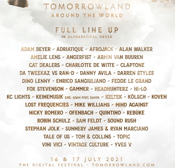 The full line-up of Tomorrowland Around the World 2021 is out!