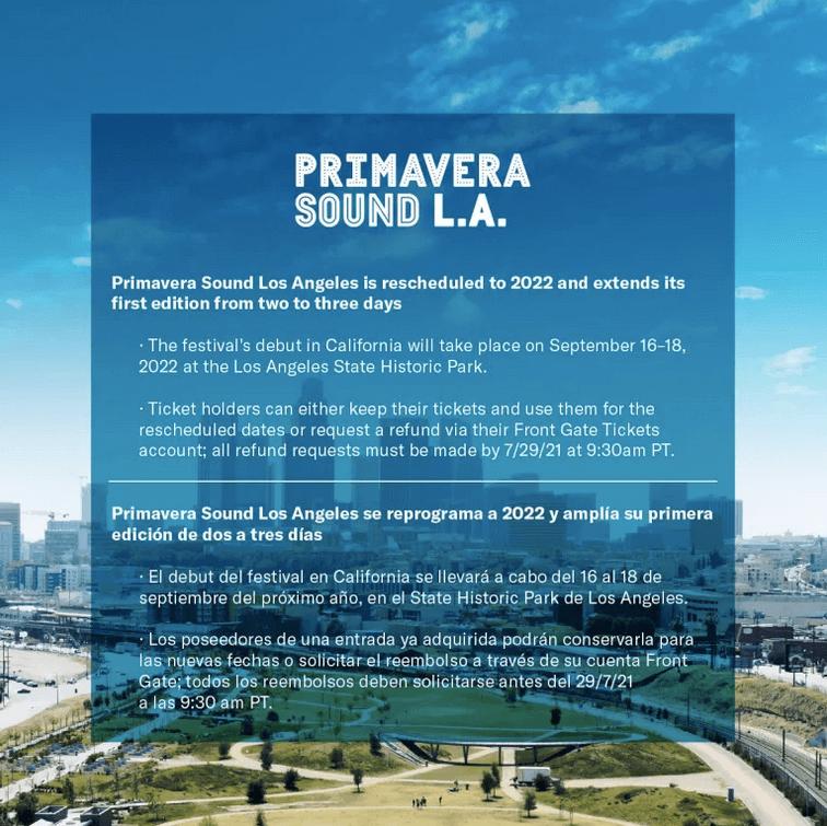 Los Angeles' Primavera Sound is rescheduled to 2022!