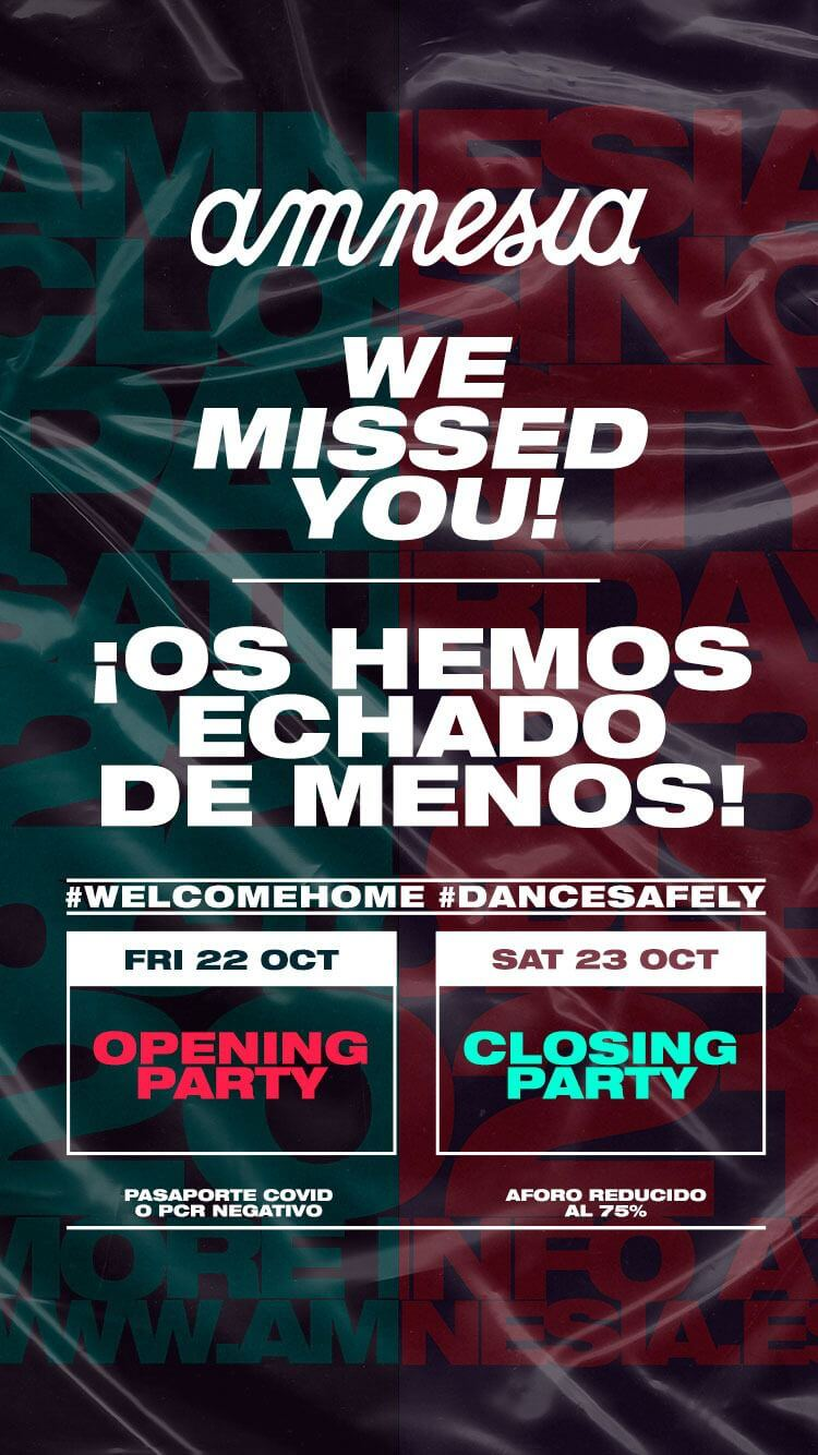 Amnesia Ibiza is back with an Opening and a Closing!
